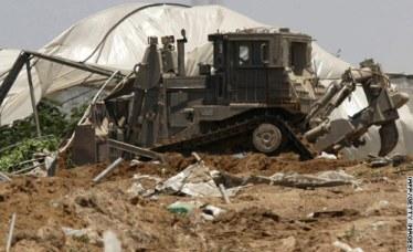 Israelis razing a Palestinian Green House